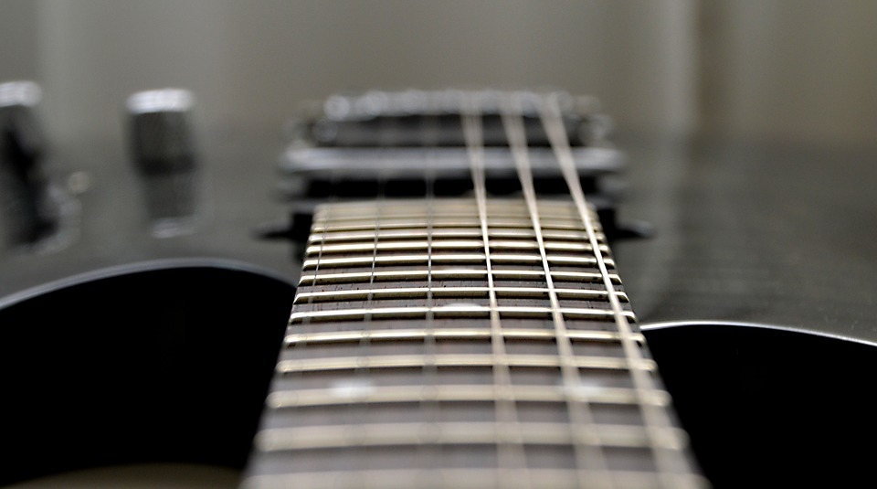 Photo of the strings of EVH guitar
